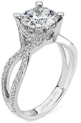 Twist Shank Diamond Engagement Ring by Michael M.