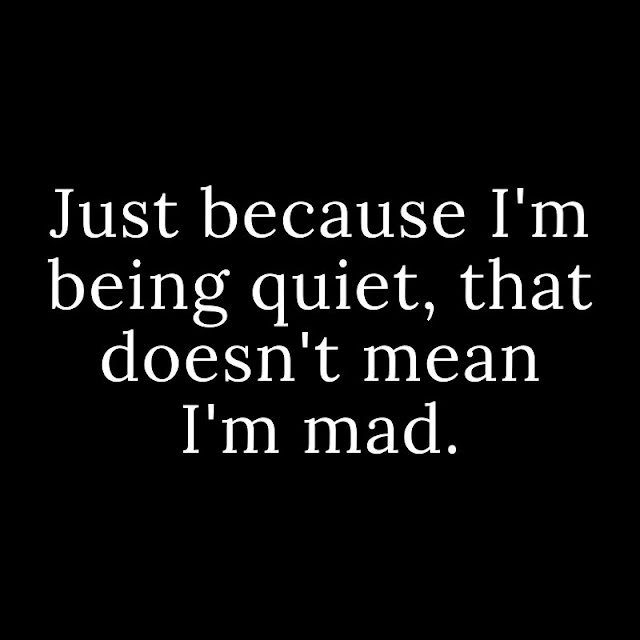 just because I'm being quiet, that doesn't mean I'm mad.