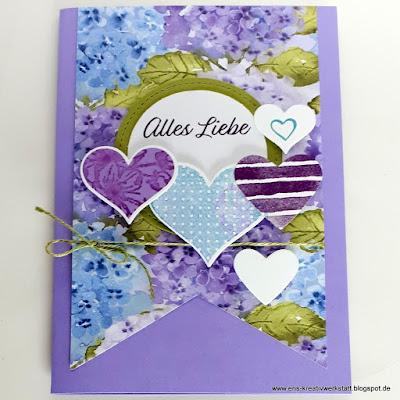 Grußkarte zum Valentinstag mit Herzen und DP Hortensienpark Stampin' Up! www.eris-kreativwerkstatt.blogspot.de