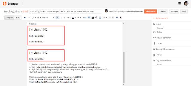 Tingkatan Heading pada Penggunaan Tag Heading