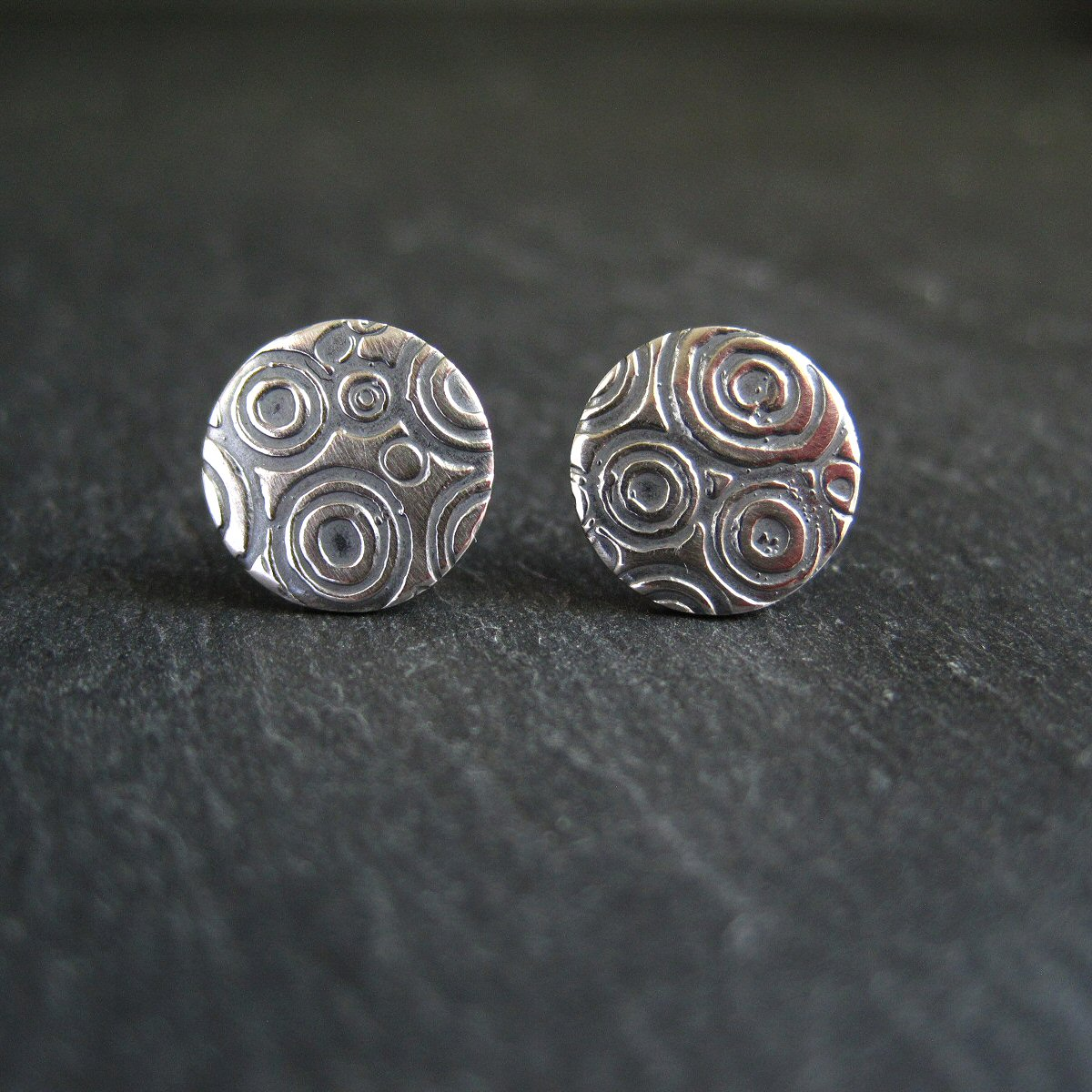 sterling silver embossed stud earrings © Cinnamon Jewellery 2015