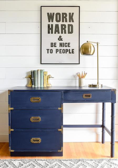 Coastal blue milk painted campaign desk idea