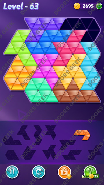 Block! Triangle Puzzle Challenger Level 63 Solution, Cheats, Walkthrough for Android, iPhone, iPad and iPod