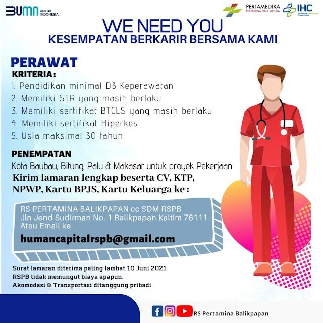 Loker Perawat RS Pertamina Balikpapan, Kalimantan Timur
