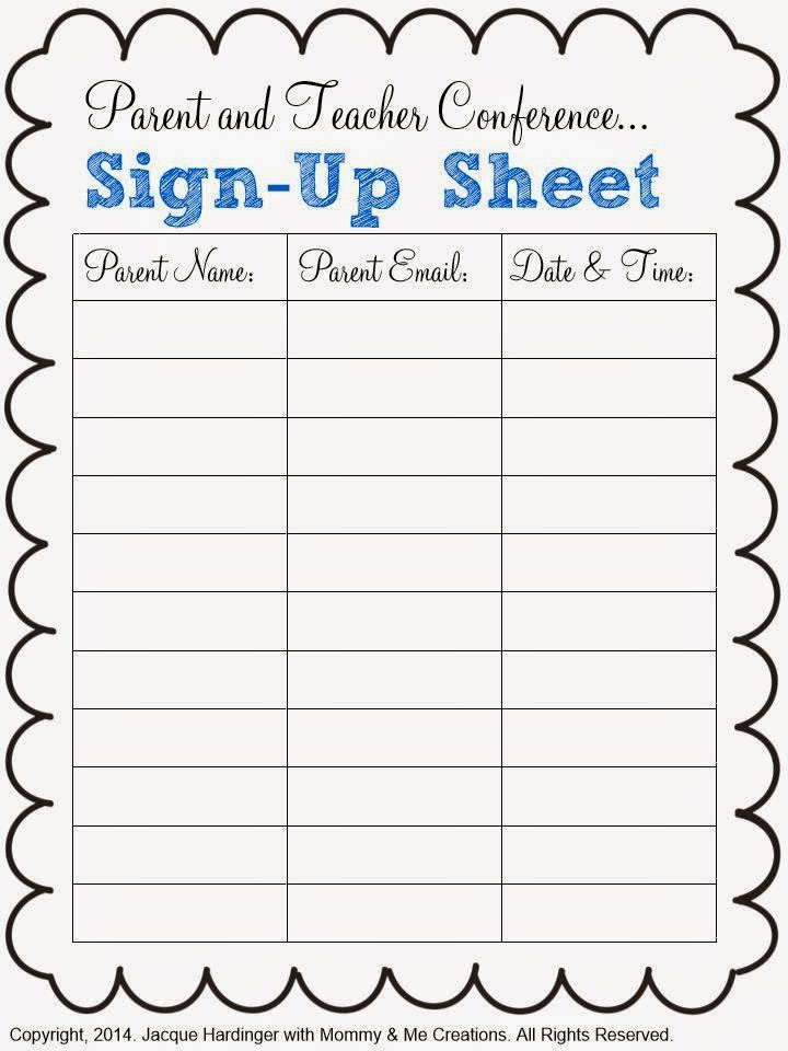 food day sign up sheet template - spark of inspiration parent and teacher conference freebie