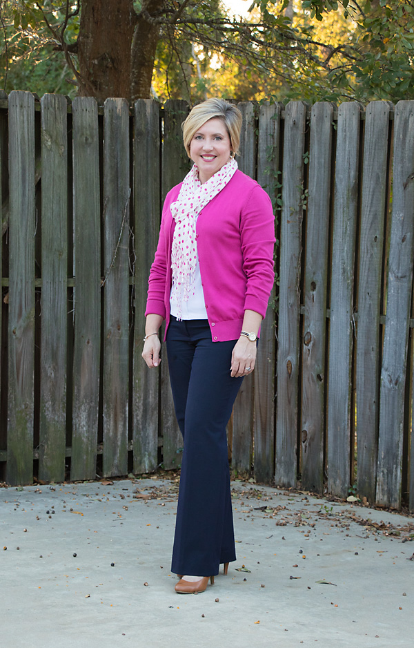 bright color outfits, hot pink cardigan, cardigan outfit, hot pink and navy outfit, navy pants outfit