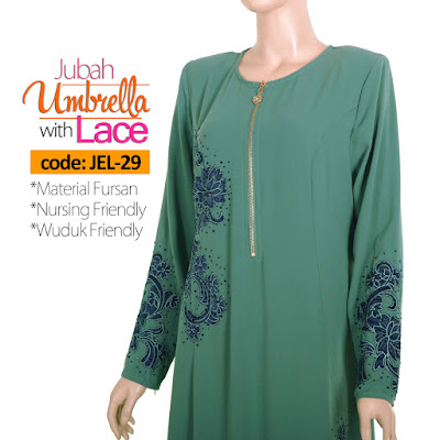 Jubah Umbrella Lace JEL-29 Sea Green Depan 4