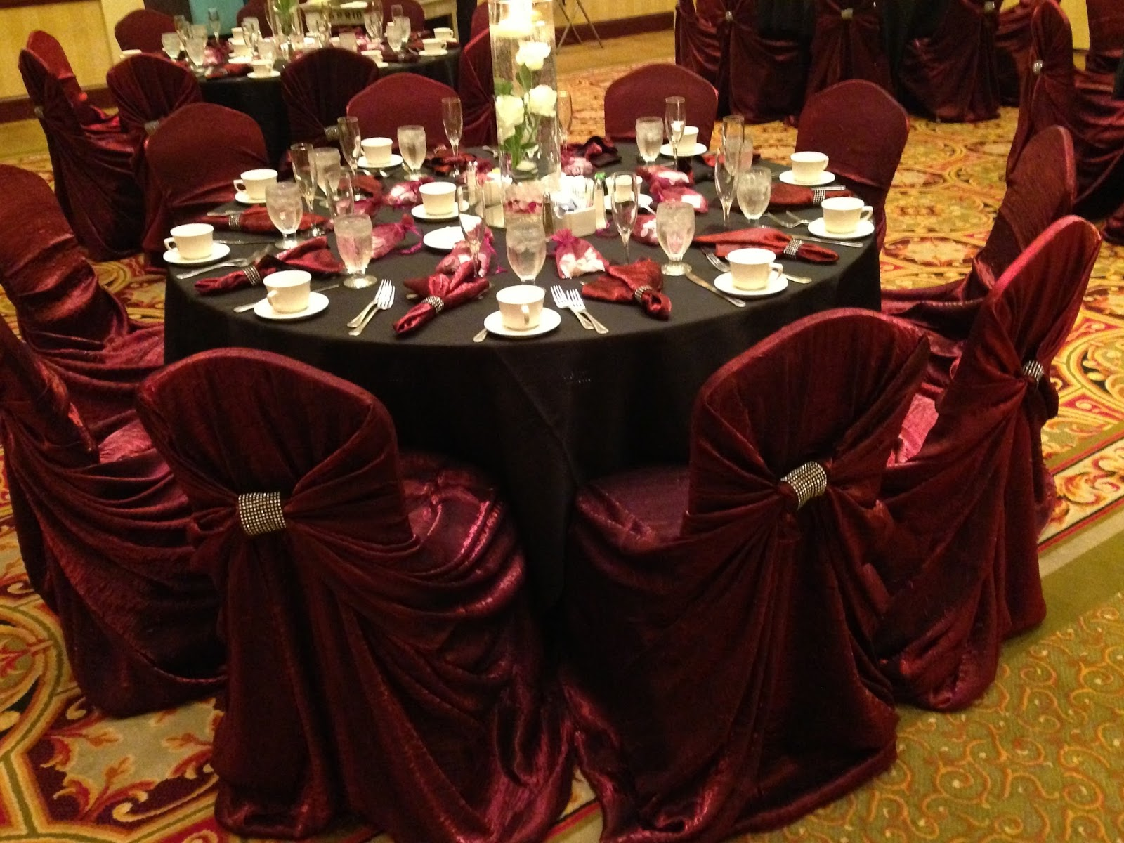 Burgundy Chair Covers Wedding Bedroom And Ottoman Phoenix Marriott Mesa Rachel Tyler S They Decorated With Elegant Floral Water Centerpieces Congratulations