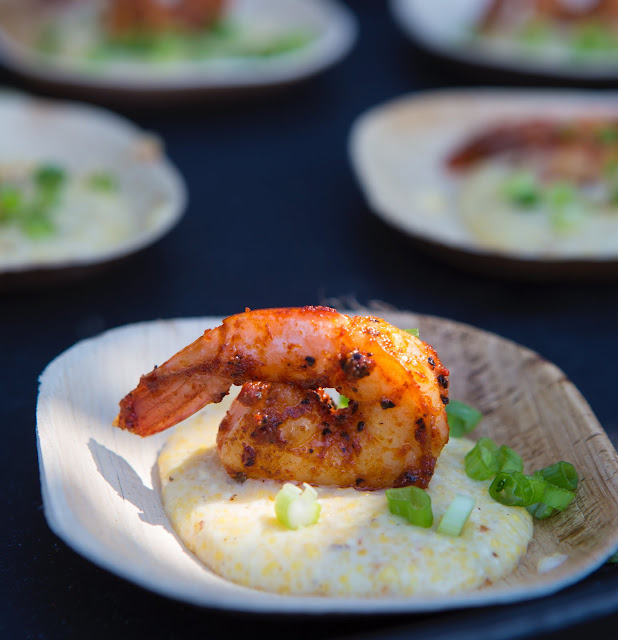 A tasting of my Blackened Shrimp with Corn Grits at the James Beard Foundation's Taste of American event.