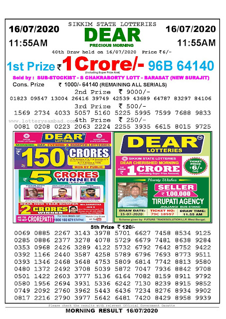 Sikkim State Lotteries 16-07-2020 Lottery Sambad Result 1155 AM