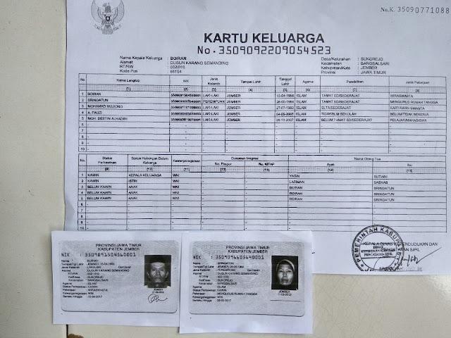 Kartu Keluarga Achmad Fauzi dan identitas kedua orang tuanya