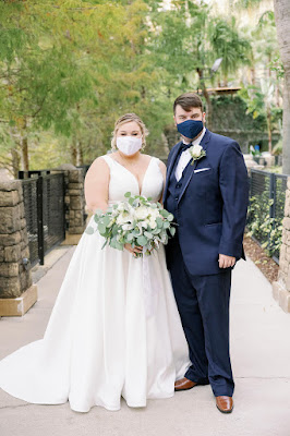 bride and groom with covid face masks