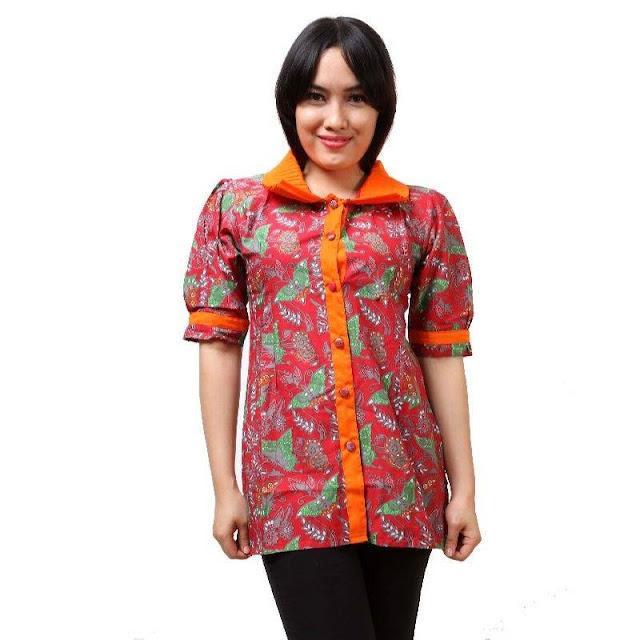 Model Baju Batik Kantor Wanita Lengan Pendek
