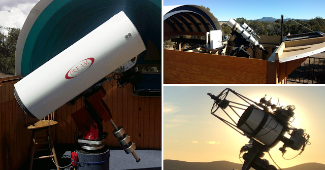 "16"" f/3.7 Astrograph Reflector (ATEO-1) / 5"" f/5.8 Williams Optics Refractor (ATEO-2A) / 12.5"" f/9 Quasar Ritchey Chretien (ATEO-3)."
