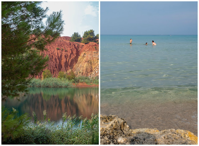 Imagen de antigua mina de bauxita con una colína naranja y un lago. Al lado imagen de una playa de aguas transparentes con hombre y dos niños bañándose.