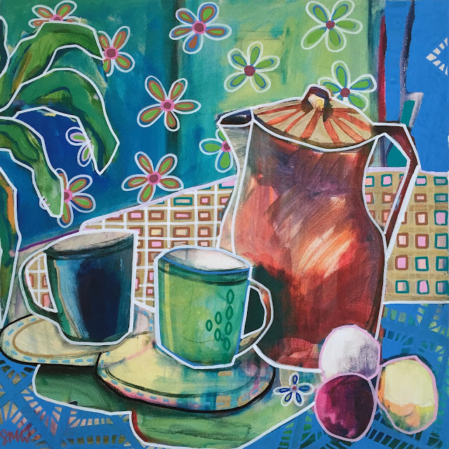 Vibrant, colourful painting of a coffee set on a table