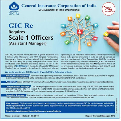 GIC Re Requires Scale 1 Officers (Assistant Manager)