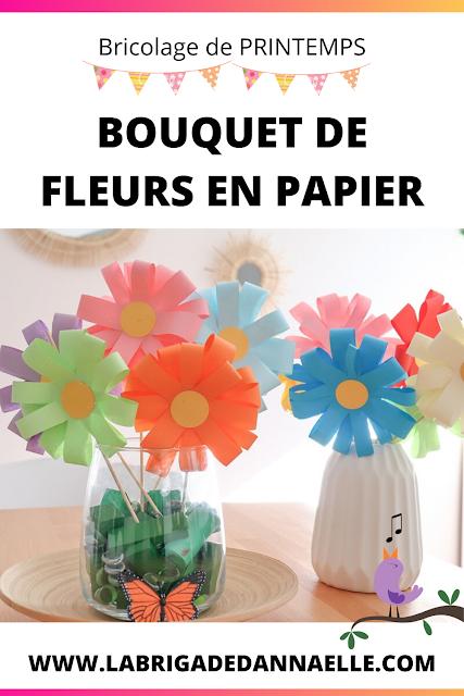 bouquet de fleurs en papier pour enfant