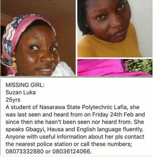 25-Year-Old Lady Declared Missing in Nasarawa State