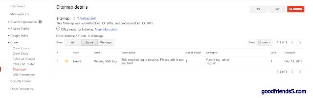 xml missing tag error