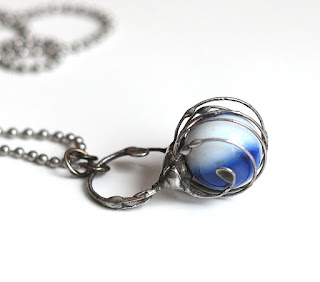 Soft Solder Vintage Glass Marble Necklace - Hot Off The Bench