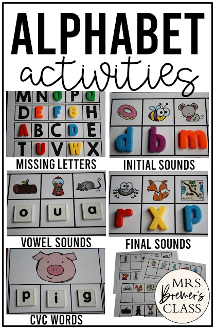 Phonic activity pack for alphabet practice with missing letters, initial sounds, vowel sounds, final sounds, and CVC words for Kindergarten and First Grade