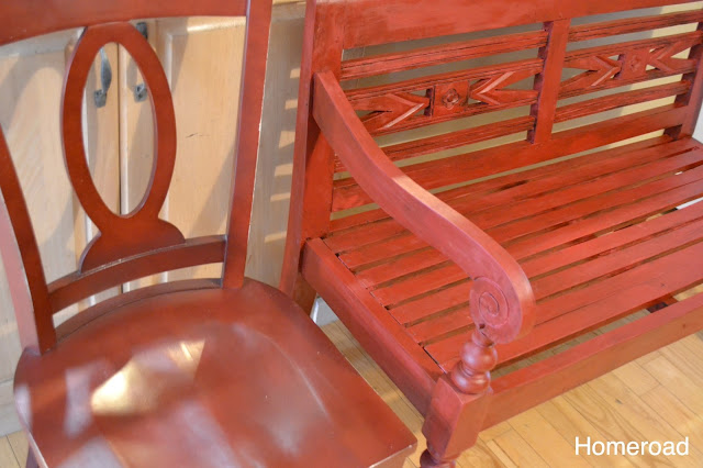 Matching the chairs in the kitchen perfectly using chalky red paint and dark wax