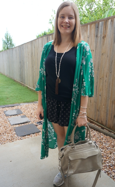green floral duster kimono with monochrome back printed pull on shorts outfit | away from blue