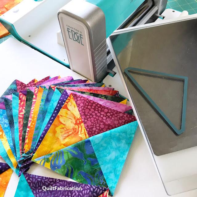 multi colored quarter square quilt blocks