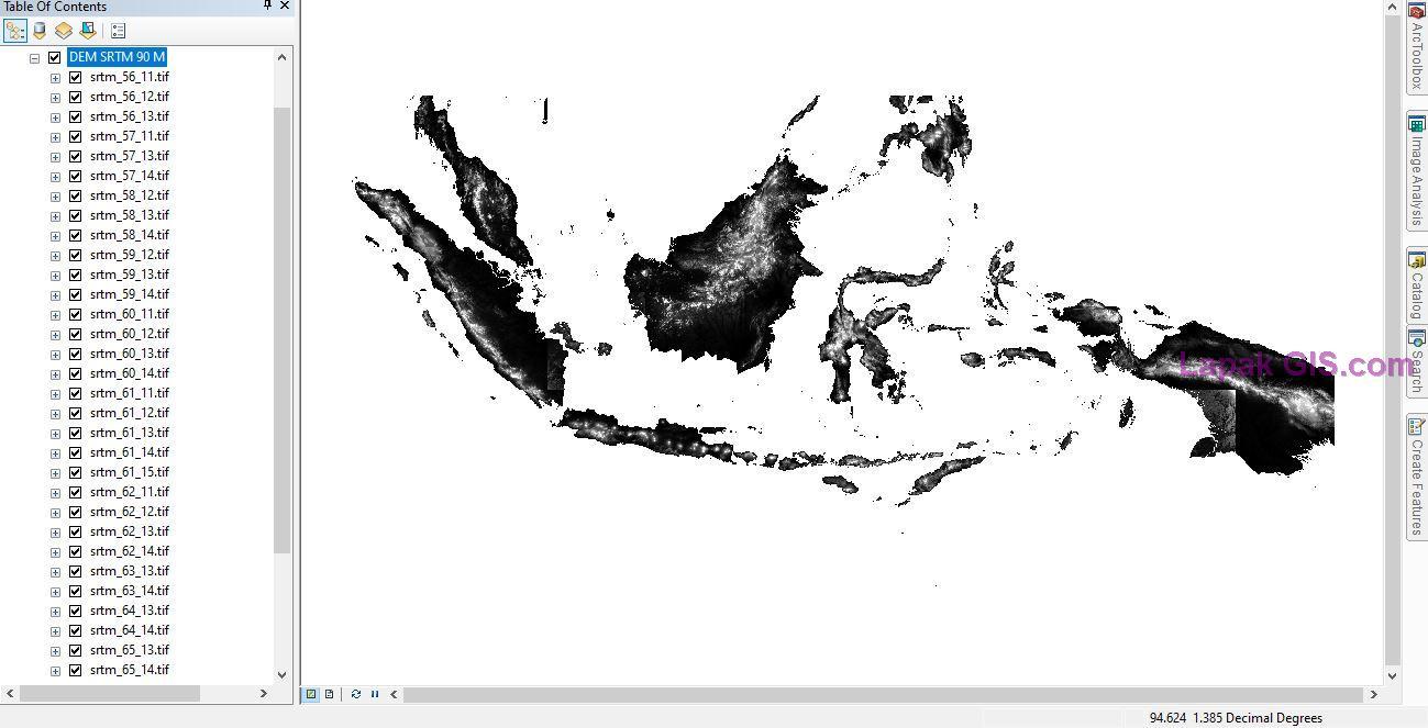 DEM SRTM 90m Versi 4 dan DEM ASTER 30m Versi 3 Seluruh Indonesia
