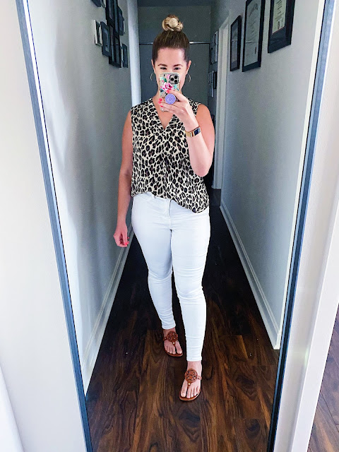 Leopard Blouse White Jeans Fall Outfit || Tori's Pretty Things