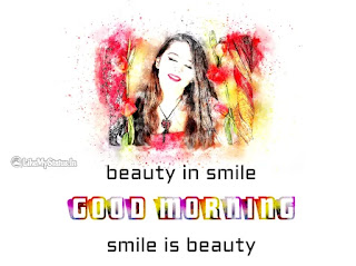 Smiling Woman face drawing good morning