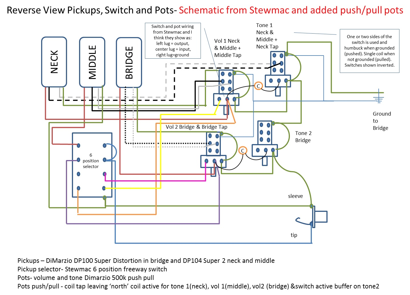 Free Download Guitar Wiring Diagrams 2 Pickups Push Pull Pot Diagram Electrical Schematics Using