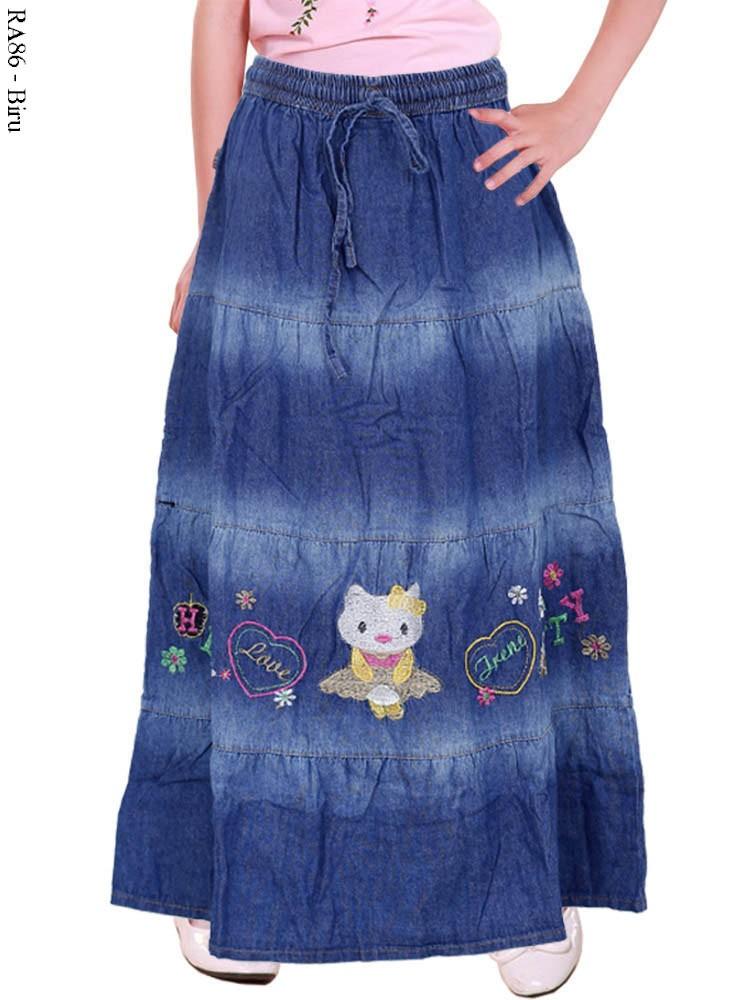 Ra86 Rok Jeans Anak Bordir Hello Kitty Busana Muslim