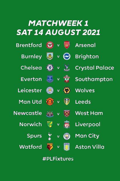 Premier League 2021/22 fixtures released