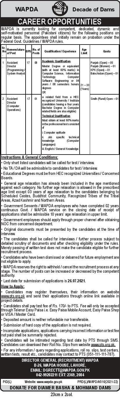 www.wapda.gov.pk jobs 2021 - Water and Power Development Authority WAPDA Jobs 2021 in Pakistan - WAPDA Latest Jobs 2021 Advertisement