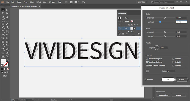 Hatched Shadow Text Effect in Adobe Illustrator
