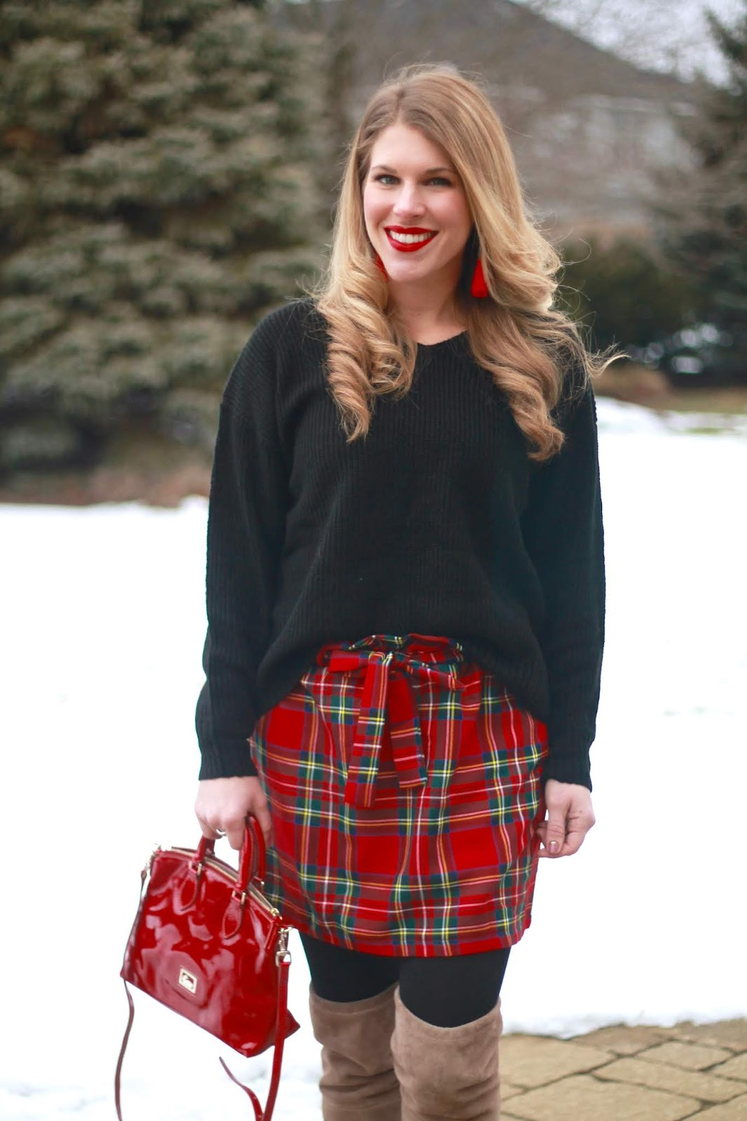 shein red plaid skirt, black v neck sweater, taupe OTK boots, red patent leather bag