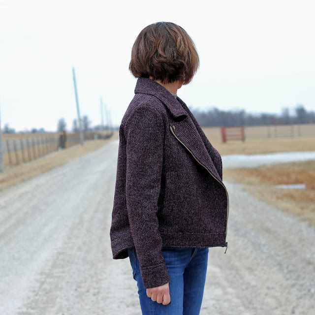 McCall's 7694 moto jacket made from Mood Fabrics' wool tweed - side view