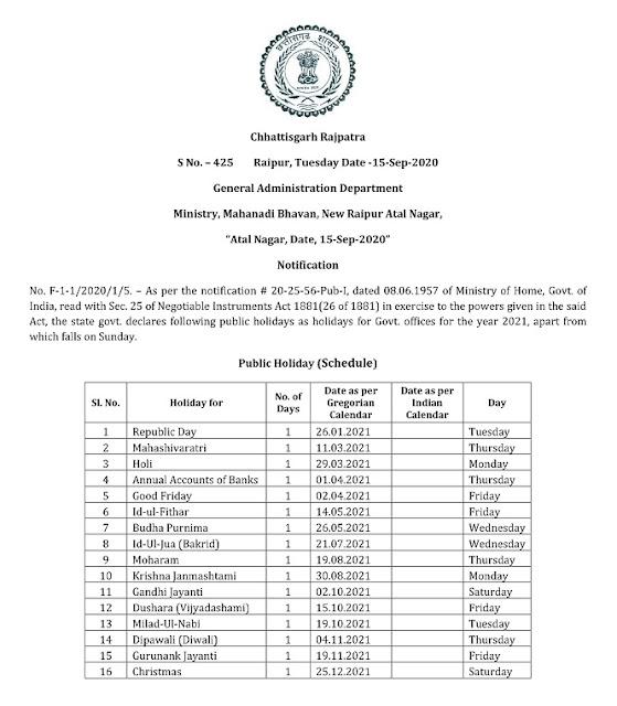 Chhattisgarh govt official holiday 2021