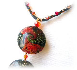 Polymer Clay Swirled Lentil Bead (largest bead)