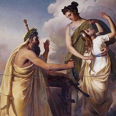 """Il dipinto """"Il sacrificio di Ifigenia"""" a destra è di Alexandre-Denis Abel de Pujol (1785-1861)"""