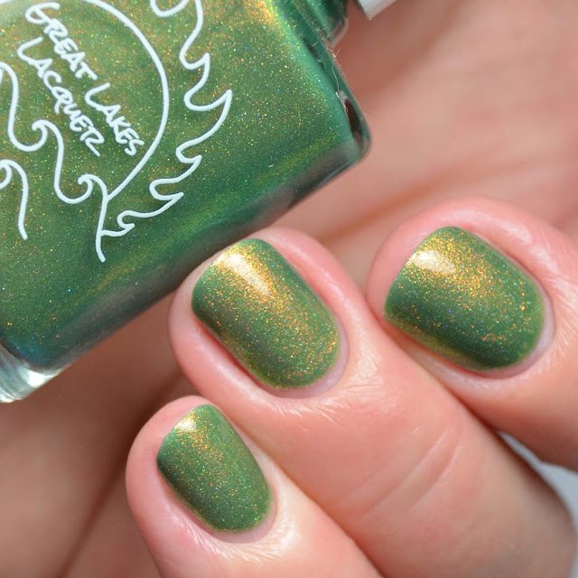 green nail polish with shimmer swatch