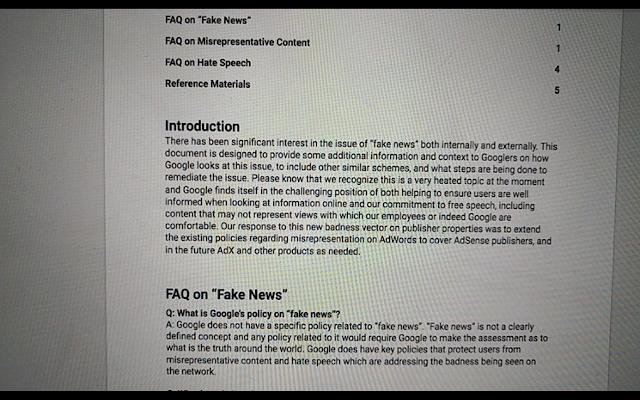 Documento vazado do Google publicado pelo  Project Veritas