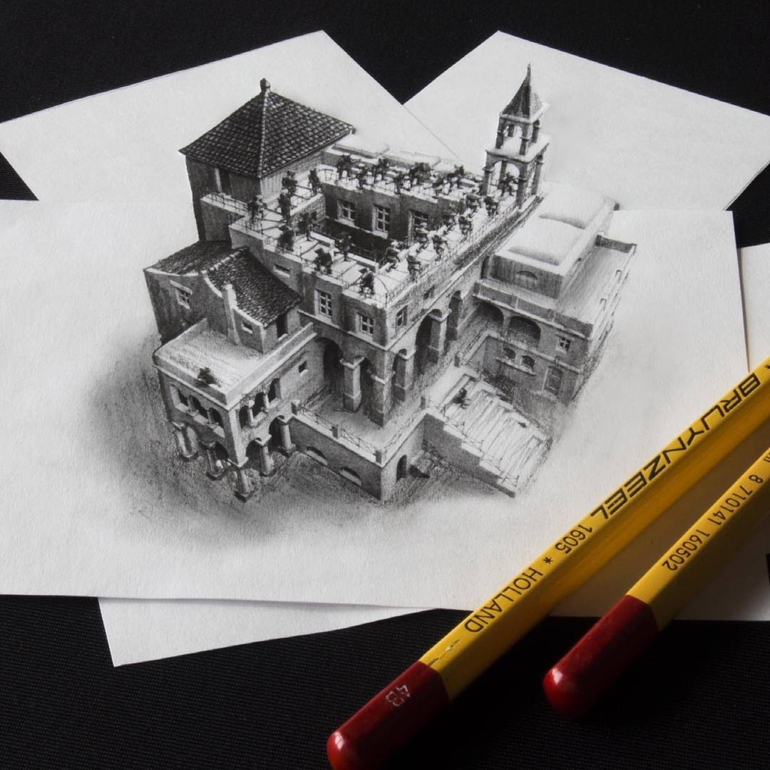12-Ode-to-M-C-Escher-Ramon-Bruin-Optical-Illusions-in-3D-Drawings-www-designstack-co