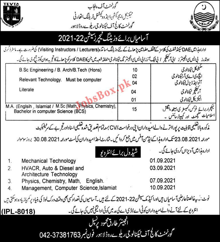 Government College of Technology Lahore Jobs 2021