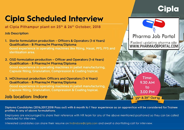Cipla Walk In Interview For Multiple Openings at 25 & 26 October