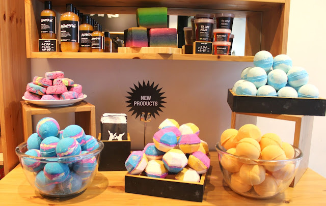 A picture of new products at Lush Nottingham, including The Experimenter, Yoga Bomb, Granny Takes a Dip, Intergalactic, Layer Cake, Refresher and 93,000 Miles