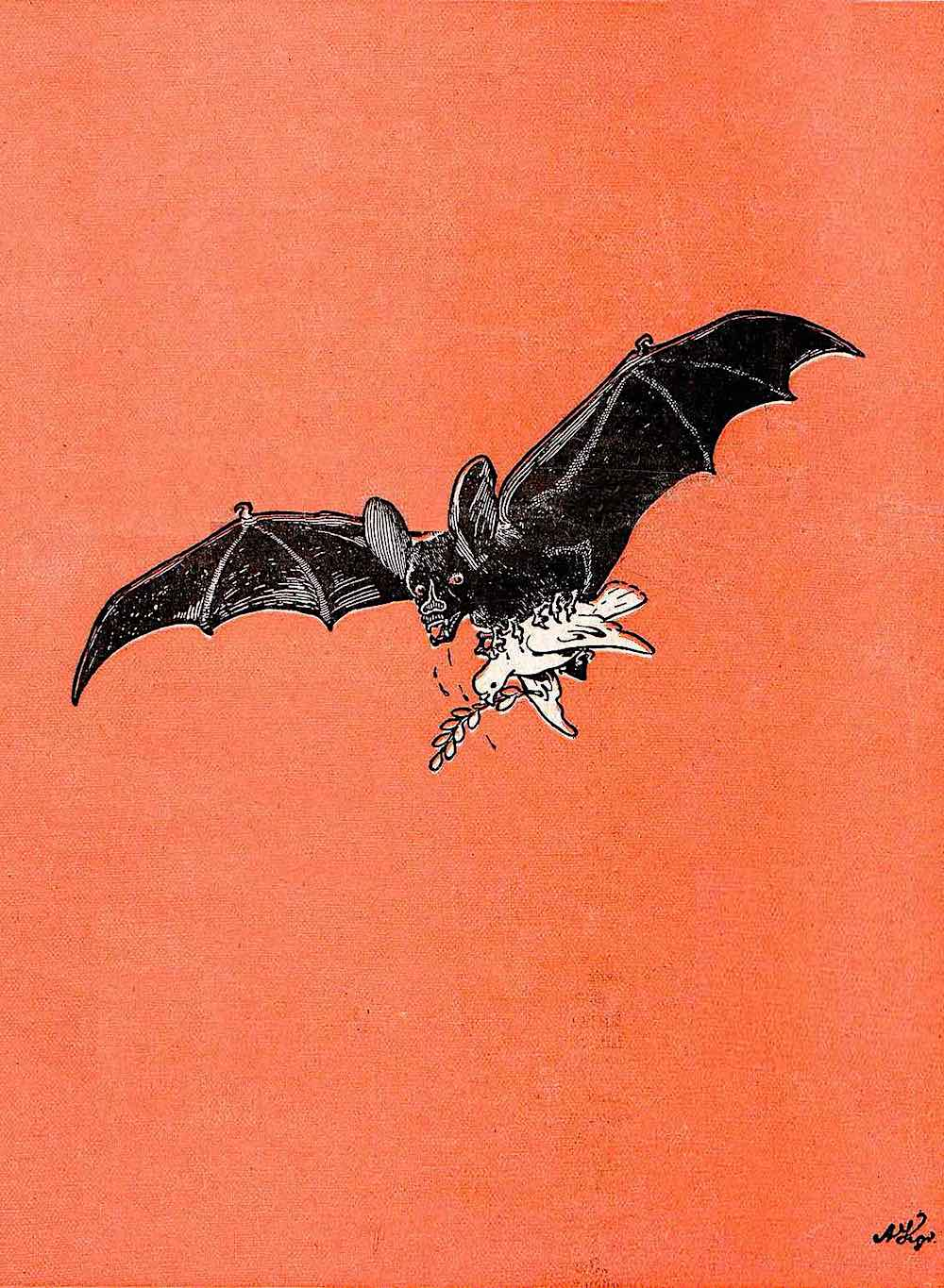 an Arthur Krüger illustration of a vampire bat carrying a peace dove in a red sky