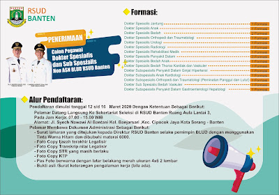 Pengumuman Penerimaan Calon Pegawai Non ASN BLUD RSUD Banten Tahun 2020